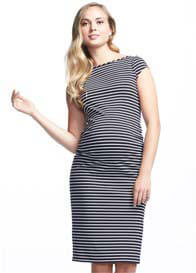 Soon Maternity - Leo Cap Sleeve Ruched Dress in Navy Stripe