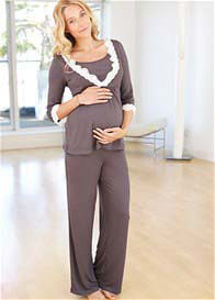 Amoralia - Pewter Lace Trim Nursing PJ Set