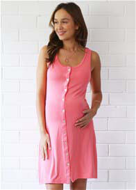 Amoralia - Button Nursing Nightie in Coral