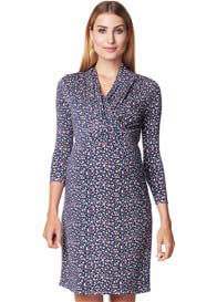 Esprit - Navy Small Flower Print Nursing Dress