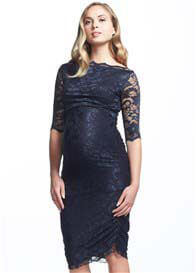 Soon Maternity - Gigi Lace Dress in Navy