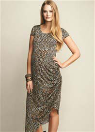 Maternal America - Abstract Print Side Ruched Dress
