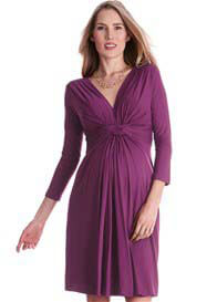 Seraphine - Orchid 3/4 Sleeve Knot Front Dress