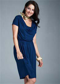 Milky Way - Avery Cowl Neck Nursing Dress in Blue