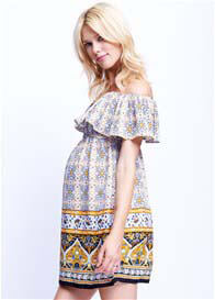Maternal America - Off Shoulder Dress in Mustard Paisley