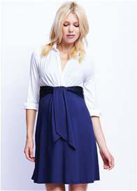 Maternal America - Front Tie Maternity Dress in White/Navy