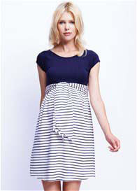 Maternal America - Scoop Front Tie Dress in Navy Stripes