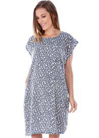 Imanimo - Bailey Shift Dress in Blue Print