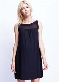 Maternal America - Black Sheer Yoke Dress