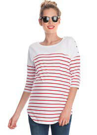 Seraphine - Red Striped Cotton Nursing Top