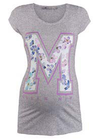 Queen mum - M Floral Stencil T-Shirt in Grey