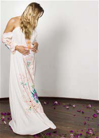 Fillyboo - City of Angels Off Shoulder Maxi Dress in Peach