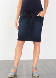 Esprit - Over Bump Denim Skirt in Dark Wash