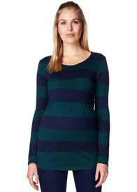Esprit - Fine Knit Empire Jumper in Blue/Green Stripes - ON SALE