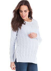 Seraphine - Judy Cable Knit Nursing Jumper in Powder Blue