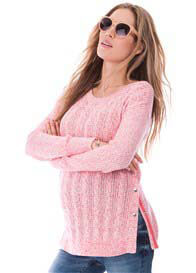 Seraphine - Judy Cable Knit Nursing Jumper in Pink/White