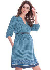 Seraphine - India Boho Dress in Blue Tile Print