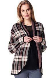 Esprit - Knit Cardigan in Burgundy Plaid