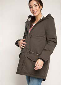 Esprit - Cosy Hooded Parka in Olive Green