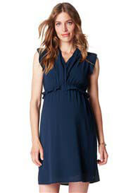 Esprit - Ruffle Crepe Dress in Night Blue