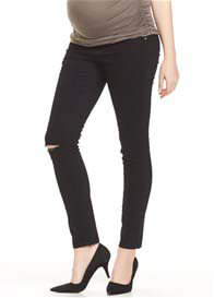 Soon Maternity - Base Distressed Denim Jeans in Black