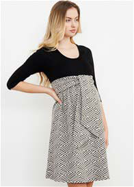 Maternal America - Black/Cream Tapestry Tie Front Dress