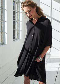 Queen mum - Fluid Shirt Dress in Black
