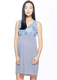 Milky Way - Sleeveless Nursing Nightie in Blue Porcelain