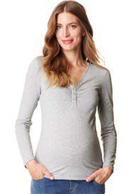 Esprit - Button Front Nursing Top in Light Grey