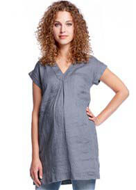 Queen mum - Inverted Pleat Front Linen Tunic in Blue