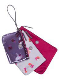 TWELVE little - Trio Pouch in Grey Floral Print