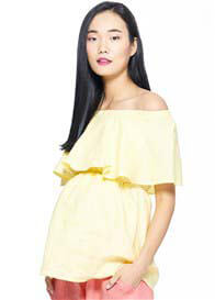 Milky Way - Peony Off Shoulder Nursing Top in Yellow