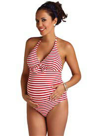 Pez D'Or - Capri One Piece Swimsuit in Red Stripes - ON SALE