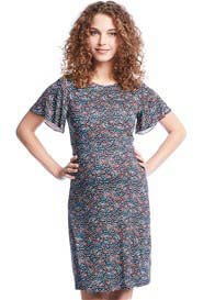 Queen mum - Flutter Sleeve Dress in Blue Print