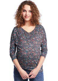 Queen mum - Banded Nursing Blouse in Blue Print - ON SALE