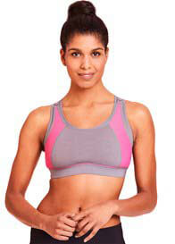 La Leche League - Nursing Sports Bra in Grey/Pink