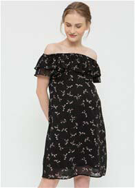 Spring - Clarinda Party Nursing Dress in Black Print