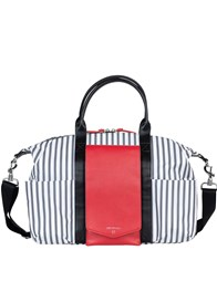 TWELVE little - Peek-a-Boo Satchel in Grey Stripe/Red